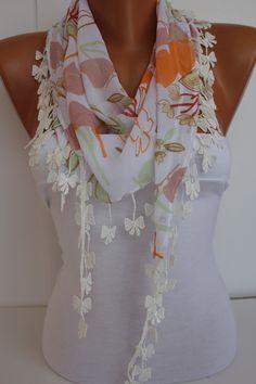 Multicolor Floral Chiffon Shawl Scarf  Headband with by DIDUCI, $13.50