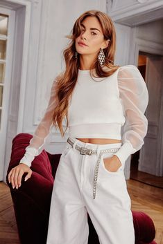 Nasty Gal Sheer Comes Our Girl Cropped Knit Sweater Cropped Knit Sweater, Sweater Shop, Clara Berry, Long Skirt Fashion, Pull Court, Cotton Leggings, Our Girl, Nice Dresses, Fashion Outfits