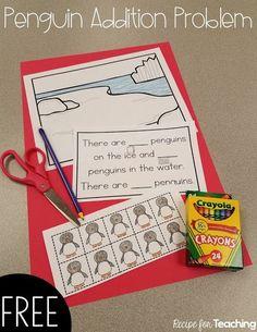 Penguin Addition Problem - Recipe for Teaching Kindergarten Classroom, Kindergarten Activities, Fun Math, Teaching Math, Preschool Activities, Math Art, Winter Activities, Kindergarten Addition, Preschool Winter