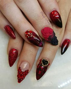 Valentine S Day Acrylic Nail Art Rose