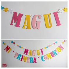 guirnaldas de papel con nombres o frases Ideas Para Fiestas, Birthday Decorations, Candy, Ariel, Party Ideas, Victoria, Scrappy Quilts, Activities, Frases