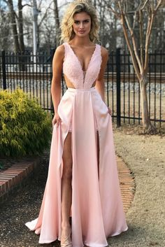 A line lace cutout top prom dresses pink slit evening dresses Prom Dresses Long Pink, Best Prom Dresses, Homecoming Dresses, Pink Dress, Evening Dresses, Prom Outfits, Ladies Dresses, Lovely Dresses, Jumpsuit Prom Dress