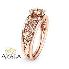 Half Carat Morganite Engagement Ring 14K Rose by AyalaDiamonds