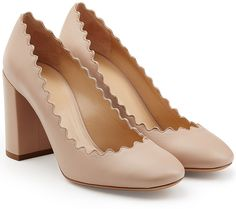 Chloé Leather Pumps with Scalloped Trim