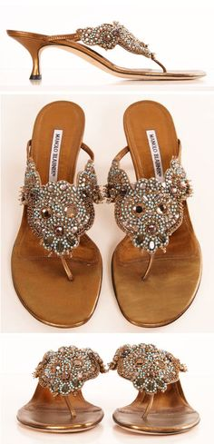 Manolo Blahnik Embellished Heels. Wish they didn't have a heel. As a sandal these would be right up my alley.