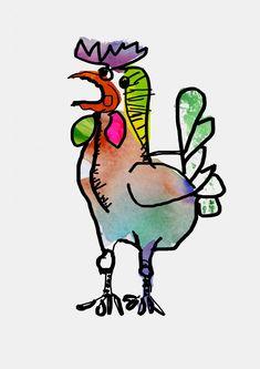 Hahn á la Picasso ... Die Kinder erarbeiten sich die Form mit einem einzigen Strich (dicker Marker) und gehen erst im Anschluß ans Colorieren! Picasso, Hahn, Form, Marker, Rooster, Animals, Artworks, Kids, Animales