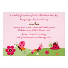 Cute Pink Bug Baby Shower Invitation / Ladybug Baby Shower / Butterfly Baby Shower / Baby Bugs / INS Print Your Own Invitations, Baby Shower Invitations, Custom Invitations, Invitation Wording, Birthday Invitations, Invites, Baby Bug, Online Printing Companies, Butterfly Baby