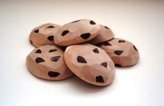 Half Dozen Chocolate chip cookies wooden play food or teether by ArtsoftheHeart on Etsy https://www.etsy.com/listing/62636616/half-dozen-chocolate-chip-cookies-wooden
