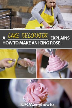Watch cake decorator and member of UFCW Local 23 Carolyn Brooks show you how to make icing roses—perfect for your next birthday, wedding, anniversary, or bridal shower cake. Our hardworking UFCW famil (Cake Decorating Hacks) Cake Decorating Tips, Cookie Decorating, Cake Cookies, Cupcake Cakes, Dessert Decoration, Cake Decorations, How To Make Icing, Choco Chips, Gateaux Cake