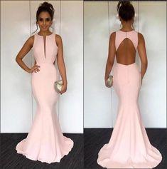 Mermaid Round Neck Sleeveless Open Back Pink Stretch Satin Prom Dress on Storenvy