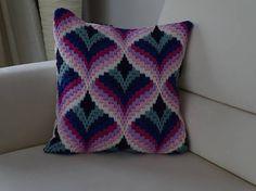 Patrón de encaje de aguja de Bargello Vintage almohada funda