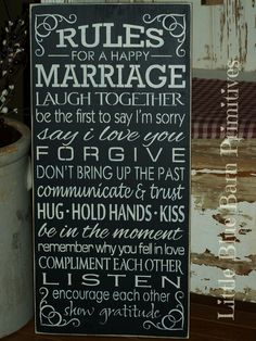 Rules For A Happy Marriage, Hand Stenciled Painted Wood Sign, Marriage Sign Marriage Advice, Love And Marriage, Marriage Hand, Relationship Advice, Strong Marriage, Healthy Marriage, Restore Marriage, Newlywed Advice, Happy Marriage Quotes