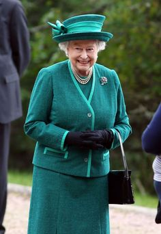 "The Queen outside Crathie Kirk, near Balmoral, Scotland just before the Scots referendum about Independence on September The Queen is wearing a ""Tutti Frutti"" style Floral bouquet brooch of rubies, emeralds, sapphires & diamonds. Hm The Queen, Royal Queen, Her Majesty The Queen, Save The Queen, Queen And Prince Phillip, Prince Philip, Diana, Isabel Ii, British Royal Families"