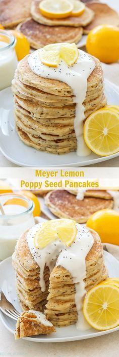 Meyer Lemon Poppy Seed Pancakes | Light, fluffy, lemony pancakes drizzled with a delicious Meyer lemon Greek yogurt sauce! Perfect for breakfast or brunch!