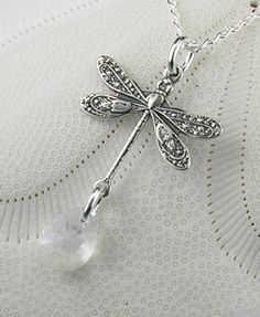 Dragonfly Jewelry Sterling Silver by maidstonelanejewelry on Etsy, $22.00