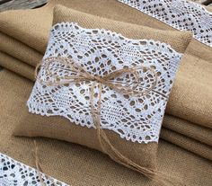Burlap Ring Bearer Pillow with White Cotton Lace, Rustic Wedding Hessian ring cushion on Etsy, $29.00
