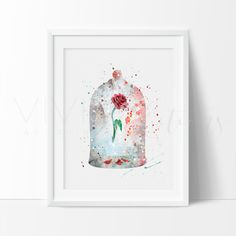 Beauty and the Beast Belle, Cursed Rose, Princess Watercolor Art. This art illustration is a composition of digital watercolor images and silhouettes in a minimalist style.