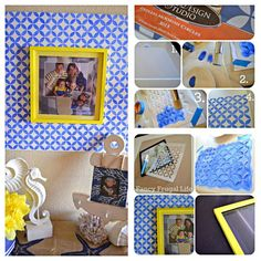 how to stencil a picture frame project. http://www.royaldesignstudio.com/