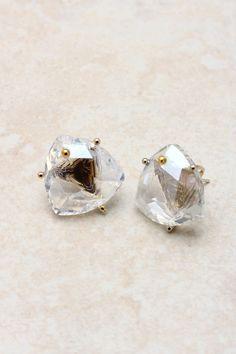 14K Crystal Diamond Earrings