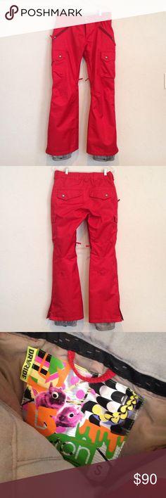 "Burton Snowboarding Pants Small Dryride 🌹🏂 Good used condition Red Small. Top measure~ 15"" top to bottom 39.5. Womens. Burton Pants"