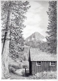 Honeymoon Cabin, pencil, 11x14, unframed, $300