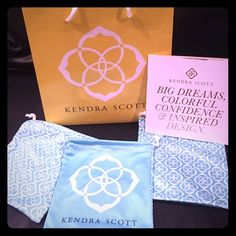 New Kendra Scott bag and 3 dusters Brand-new Kendra Scott bag with three individual jewelry pouches and care cards. Also including Kendra Scott booklet. Everything is in perfect condition. Kendra Scott Jewelry Bracelets