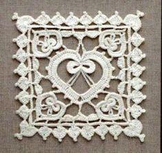 Square de coração em crochet