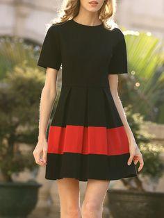 Shop Mini Dresses - Black Crew Neck Casual Folds Mini Dress online. Discover unique designers fashion at StyleWe.com.