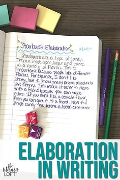 How to Teach Elaboration in Writing Teaching Writing, Student Teaching, In Writing, Writing Ideas, Fourth Grade Writing, Middle School Writing, Writing Practice Worksheets, Writing Activities, Informational Writing