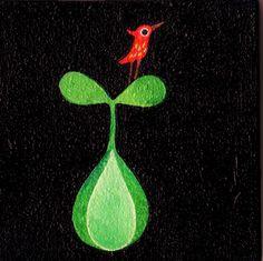 ウッドボードにキャンバス油絵10㎝X10㎝金具が付いているので壁に飾れます。★赤い鳥のたそがれシリーズです。|ハンドメイド、手作り、手仕事品の通販・販売・購入ならCreema。