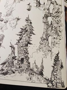 Castle / Ruin Art And Illustration, Sketchbook Drawings, Pen Drawings, Art Sketches, City Drawing, Drawing Trees, Black And White Sketches, Tinta China, Urban Sketching