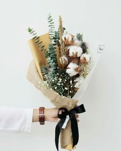 Dried cotton flower bouquet