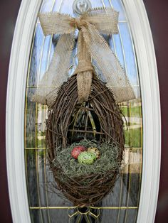 "Spring Wreath Easter Wreath Grapevine Door Wreath Basket Decor...""Farmhouse Eggs"""