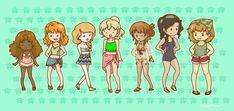 Hazel, Rachel, Calypso, Annabeth, Piper, Reyna & Clarisse at the beach