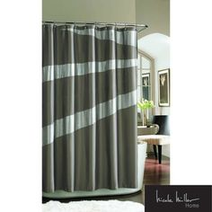 @Overstock - This Nicole Miller Tangent Fabric Shower Curtain features metallic silver with touches of shimmer in a matte polyester satin. The polyester construction is machine washable.http://www.overstock.com/Bedding-Bath/Nicole-Miller-Tangent-Shimmer-Shower-Curtain/7537219/product.html?CID=214117 $39.49