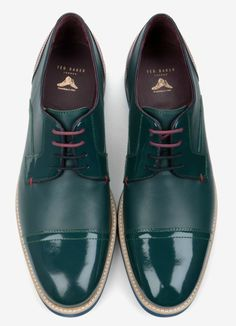 Kasual Kool - Ted Baker green patent and matt leather derbys, 155 Euro, with contrasting blue volcanized soles.