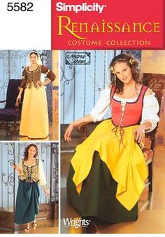 Womens Renaissance Dress Costume Sewing Pattern 5582 Simplicity  EASY
