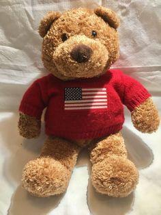 SAKS Department Store Bear Plush Soft Toy Red USA Flag Sweater 2001 Bergner's #SAKS