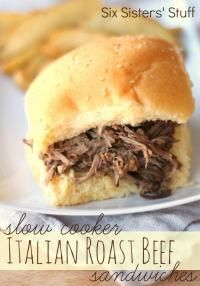 Six Sisters Slow Cooker Italian Roast Beef Sandwiches are so easy and very tasty!! They are Kid approved!