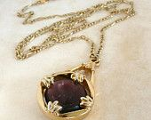 Violet & Golden Cameo Necklace - Antique Carved Glass Pendant in Purple with Gold Chain