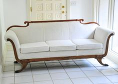 Amazing White Damask Duncan Phyfe Sofa