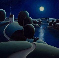 Returning Home - Paul Corfield Landscape Illustration, Landscape Art, Landscape Paintings, Illustration Art, Illustrations, Nocturne, Arte Lowbrow, Art For Art Sake, Naive Art