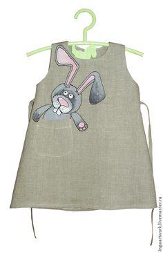 Купить Льняное детское платье.Ручная роспись.Размер по росту 86 см - серый, лен