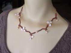 Orchid Necklace w/ Pink Opal Pink Spring by RenesJewelryArt