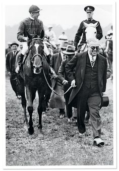 The Aga Khan III with his 1930 Derby winner Blenheim. Bred by Henry Herbert--sixth Earl of Carnarvon--at his Highclere stud, Blenheim was a son of Blandford out of Malva. He sired Derby winner Mahmoud and Mumtaz Begum (dam of Nasrullah), and after being syndicated and exported to Claiborne in Kentucky, he sired 1941 Triple Crown winner Whirlaway, and 1947 Kentucky Derby winner Jet Pilot, as well as the dams of Kentucky Derby winners Kauai King, Ponder and Hill Gail. He is buried at…