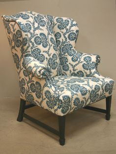 blue and white print wingback chair
