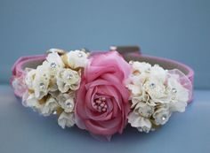 Pink Floral wedding, pink leather collar with pink and white flowers,  Wedding accessory , unique wedding dog collar