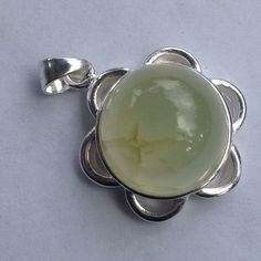 925 SS Flower with natural prehnite pendant All in sterling silver. Stamped 925. New! Jewelry