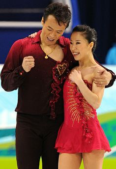 Gold medallists, China's Xue Shen (R) and Hongbo Zhao (L), jubilate at the end of their performance in their figure skating Pairs Freestyle program at the Pacific Coliseum in Vancouver during the 2010 Winter Olympics on February 15, 2010. AFP PHOTO YURI KADOBNOV (Photo credit should read YURI KADOBNOV/AFP/Getty Images)