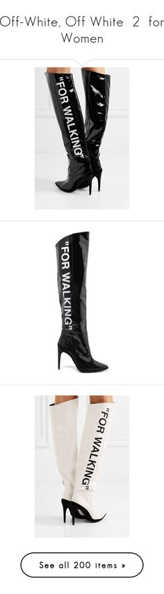 """""""Off-White, Off White  2  for Women"""" by haikuandkysses ❤ liked on Polyvore featuring shoes, boots, patent leather knee-high boots, knee high heel boots, off white knee high boots, knee boots, patent boots, printed, for and knee"""